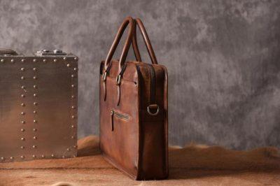 Luxury Vintage Leather Briefcase Shoulder Laptop Business Bag for Men-Brown-Side