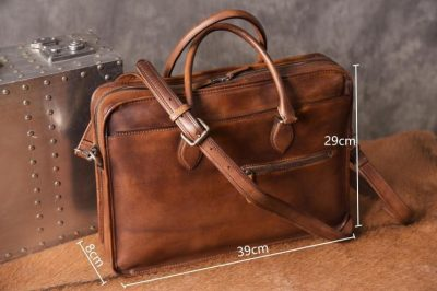 Luxury Vintage Leather Briefcase Shoulder Laptop Business Bag for Men-Brown-Size
