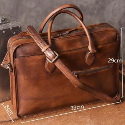 Luxury Vintage Leather Briefcase Shoulder Laptop Business Bag for Men-Brown-Size
