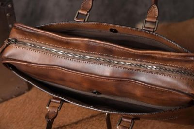 Luxury Vintage Leather Briefcase Shoulder Laptop Business Bag for Men-Brown-Top