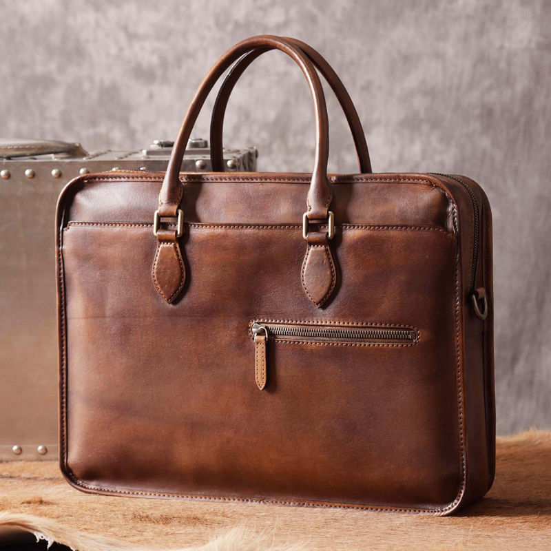 f773645e1b Luxury Vintage Leather Briefcase Shoulder Laptop Business Bag for Men-Brown