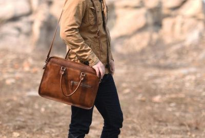 Luxury Vintage Leather Briefcase Shoulder Laptop Business Bag for Men-Brown-Display-1