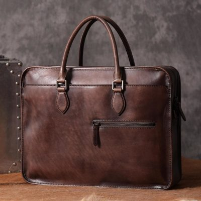 Luxury Vintage Leather Briefcase Shoulder Laptop Business Bag for Men-Coffee
