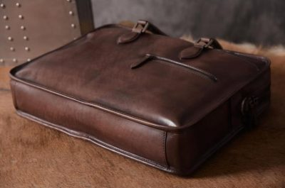 Luxury Vintage Leather Briefcase Shoulder Laptop Business Bag for Men-Coffee-Bottom