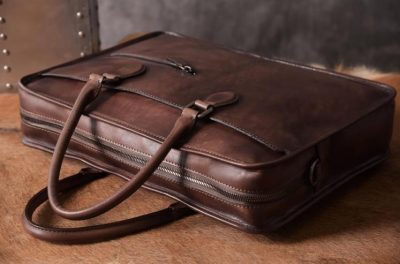 Luxury Vintage Leather Briefcase Shoulder Laptop Business Bag for Men-Coffee-Handle