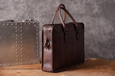 Luxury Vintage Leather Briefcase Shoulder Laptop Business Bag for Men-Coffee-Side
