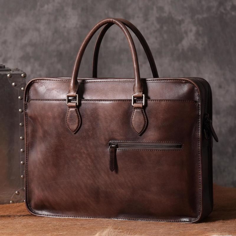 Luxury Vintage Leather Briefcase Shoulder Laptop Business Bag For Men