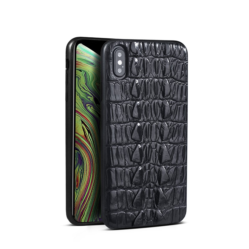 Crocodile and Alligator Leather iPhone XS Max, XS Case-Tail Skin-Black