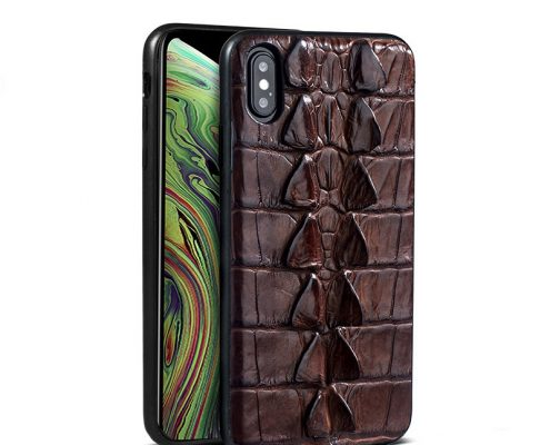 Crocodile and Alligator Leather iPhone XS Max, XS Case-Tail Skin-Brown