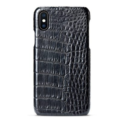 black iPhone crocodile belly skin snap-on case