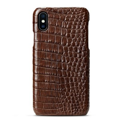 brown iPhone crocodile belly skin snap-on case
