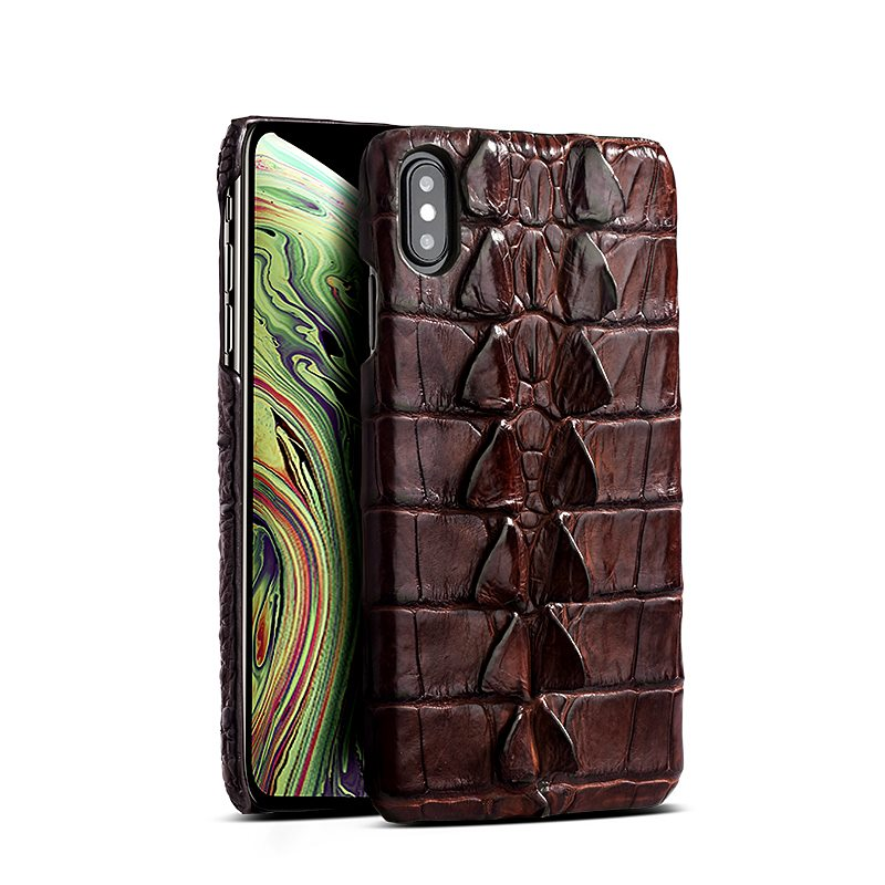 iPhone XS Max, XS Crocodile and Alligator Tail Skin Case - Brown