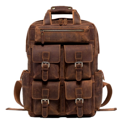 VANGOSEDUN Fashion Outdoor Leather Backpack