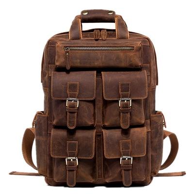 VANGOSEDUN Fashion Outdoor Leather Backpack