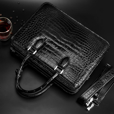Genuine Alligator Leather Briefcase Laptop Bag Shoulder Bag-Back-Display
