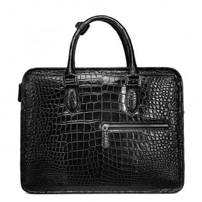 Genuine Alligator Leather Briefcase Laptop Bag Shoulder Bag-Black