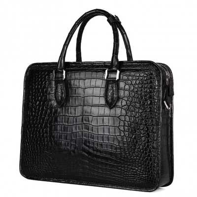 Genuine Alligator Leather Briefcase Laptop Bag Shoulder Bag-Black-Back