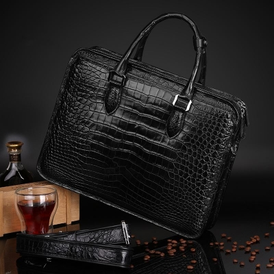 Genuine Alligator Leather Briefcase Laptop Bag Shoulder Bag-Black-Back-Display