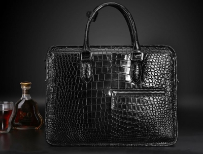 Genuine Alligator Leather Briefcase Laptop Bag Shoulder Bag-Black-Display