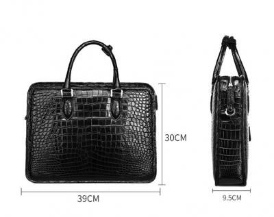 Genuine Alligator Leather Briefcase Laptop Bag Shoulder Bag-Black-Size