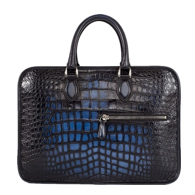 Genuine Alligator Leather Briefcase Laptop Bag Shoulder Bag-Blue