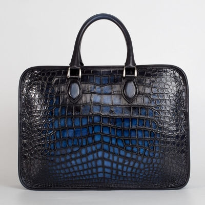 Genuine Alligator Leather Briefcase Laptop Bag Shoulder Bag-Blue-Back