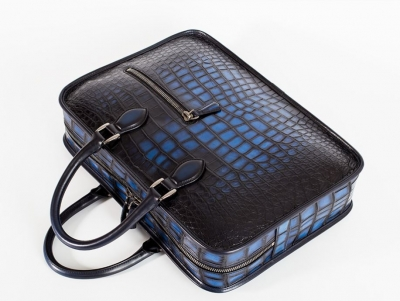 Genuine Alligator Leather Briefcase Laptop Bag Shoulder Bag-Blue-Details
