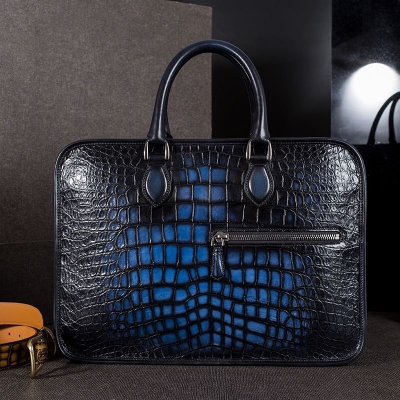 Genuine Alligator Leather Briefcase Laptop Bag Shoulder Bag-Blue-Display