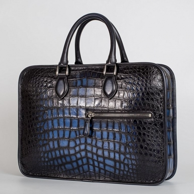 Genuine Alligator Leather Briefcase Laptop Bag Shoulder Bag-Blue-Micro Side