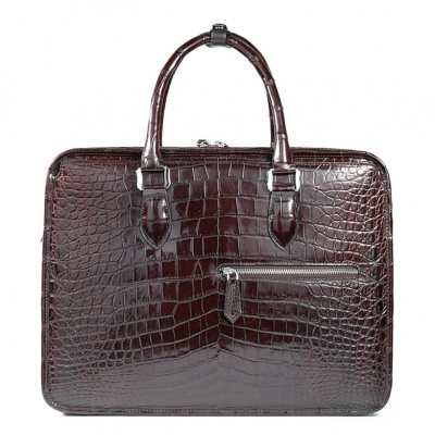 Genuine Alligator Leather Briefcase Laptop Bag Shoulder Bag-Brown