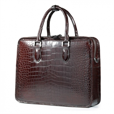 Genuine Alligator Leather Briefcase Laptop Bag Shoulder Bag-Brown-Back
