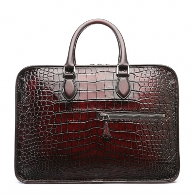 Genuine Alligator Leather Briefcase Laptop Bag Shoulder Bag-Burgundy