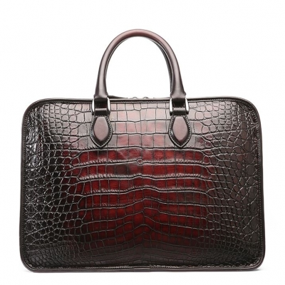 Genuine Alligator Leather Briefcase Laptop Bag Shoulder Bag-Burgundy-Back