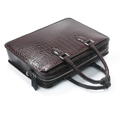 Genuine Alligator Leather Briefcase Laptop Bag Shoulder Bag-Handle
