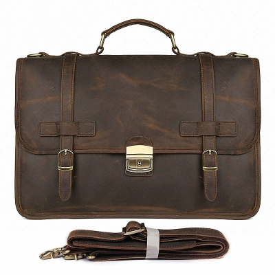 Leather Briefcase Messenger Anti-Theft 14 inch Laptop Business Travel Bags-Brown