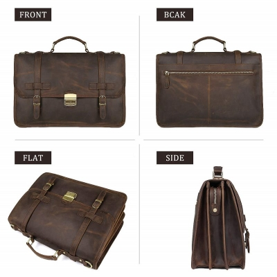 Leather Briefcase Messenger Anti-Theft 14 inch Laptop Business Travel Bags-Brown-Details