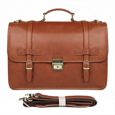 Leather Briefcase Messenger Anti-Theft 14 inch Laptop Business Travel Bags-Cognac