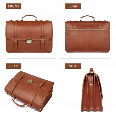Leather Briefcase Messenger Anti-Theft 14 inch Laptop Business Travel Bags-Cognac-Details