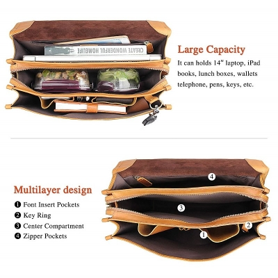 Leather Briefcase Messenger Anti-Theft 14 inch Laptop Business Travel Bags-Inside