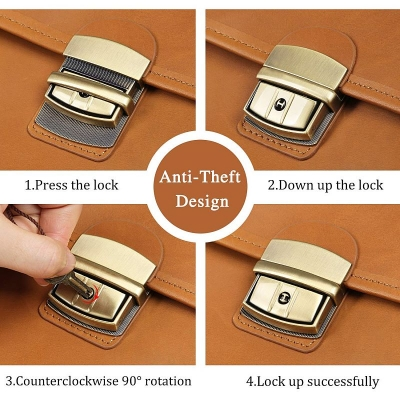 Leather Briefcase Messenger Anti-Theft 14 inch Laptop Business Travel Bags-Lock