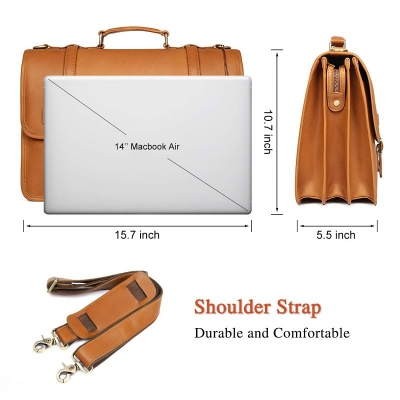 Leather Briefcase Messenger Anti-Theft 14 inch Laptop Business Travel Bags-Size