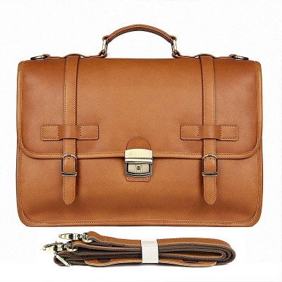 Leather Briefcase Messenger Anti-Theft 14 inch Laptop Business Travel Bags-Tan