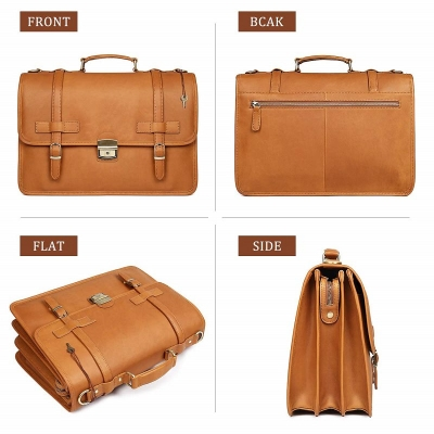 Leather Briefcase Messenger Anti-Theft 14 inch Laptop Business Travel Bags-Tan-Details