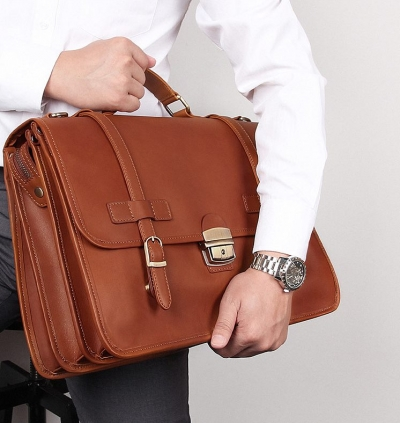 Leather Briefcase Messenger Anti-Theft 14 inch Laptop Business Travel Bags for Men-Cognac
