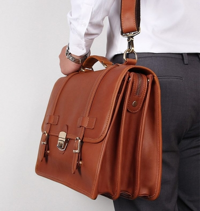 Mens Leather Briefcase Messenger Anti-Theft 14 inch Laptop Business Travel Bags-Cognac