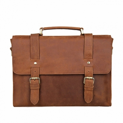 Slim Leather Messenger Bag Laptop Bag
